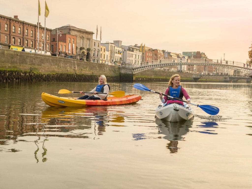 kayaking on River Liffey in Dublin city centre
