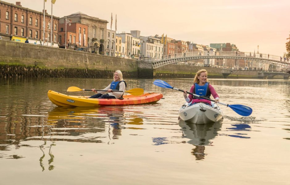 kayaking on River Liffey in Dublin city centre